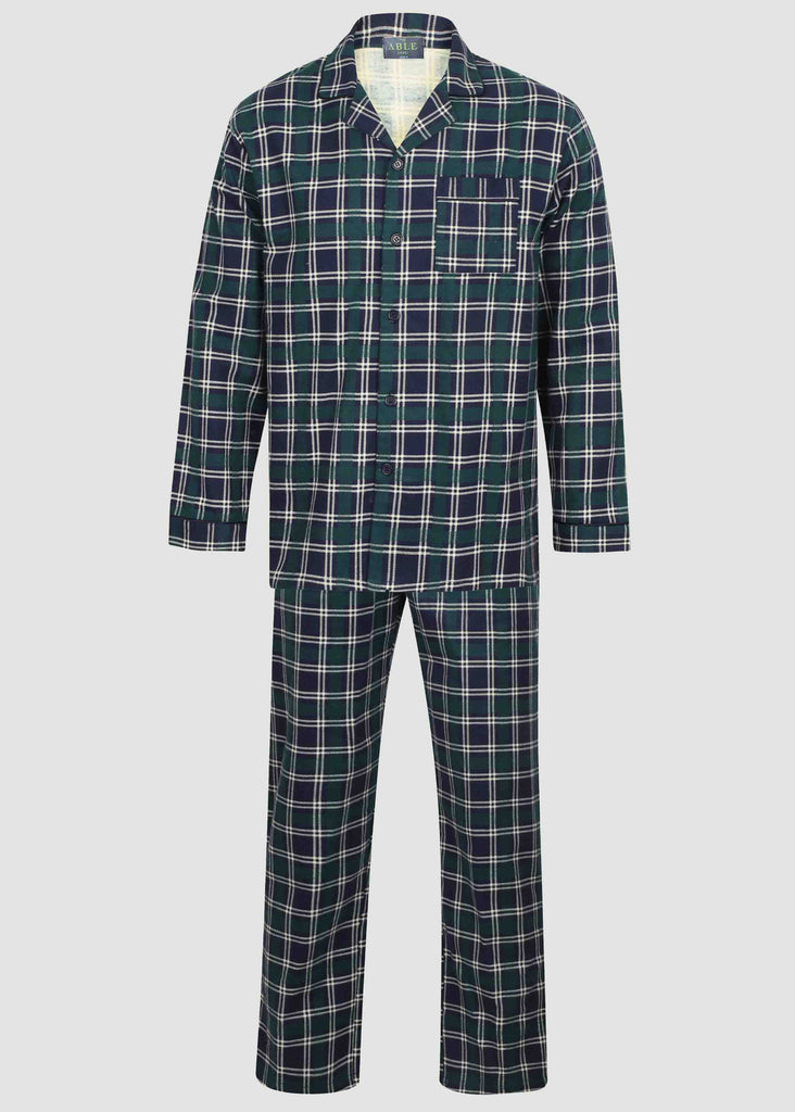 Luke Brushed Pure Cotton Velcro Shirt & Pull On Bottoms PJ Set - Green Check: VAT Exempt