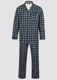 Luke Brushed Pure Cotton Velcro Shirt & Pull On Bottoms PJ Set - Green Check