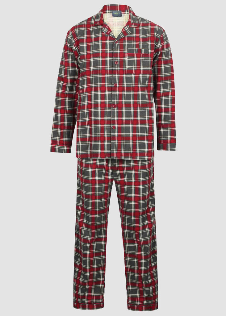 Luke Brushed Pure Cotton Velcro Shirt & Pull On Bottoms PJ Set - Red Check
