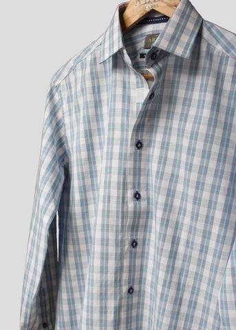 Maddox Smart Check Velcro Shirt - Blue/Aqua