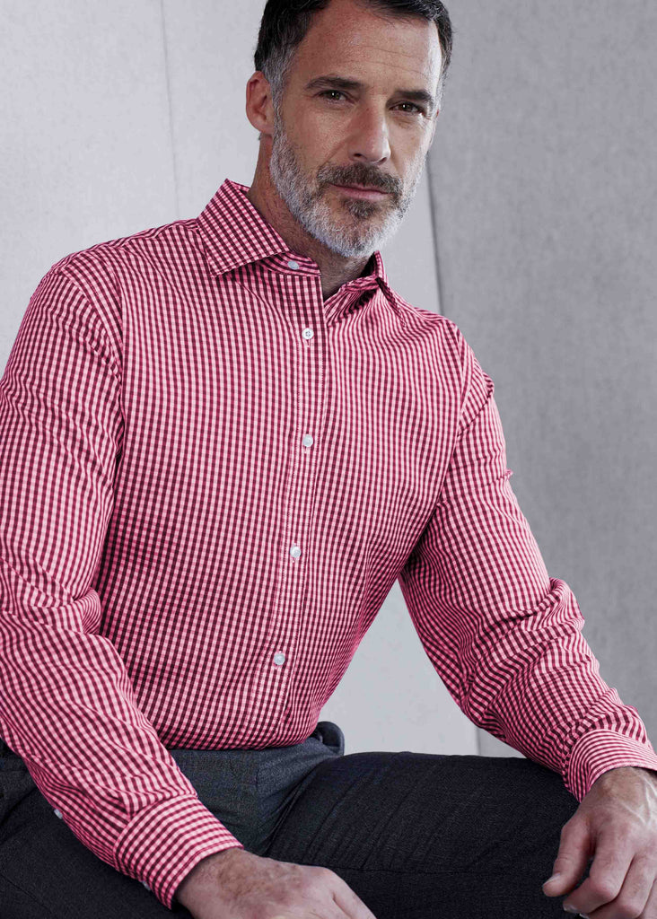 Marcel Casual Gingham Velcro Shirt - Cherry Red