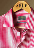 Marcel Smart Gingham Velcro Shirt - Cherry Red: VAT Exempt