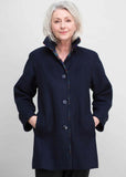 Marilyn Wool Blend Velcro Coat - Navy