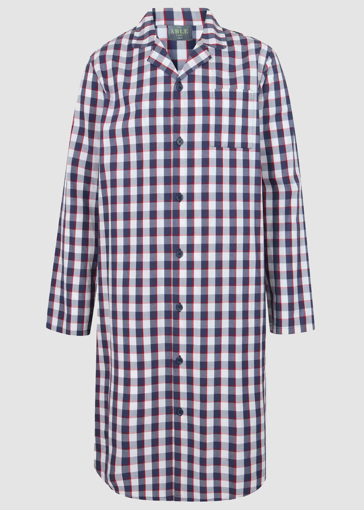 Mark Pure Cotton Long Sleeve Velcro Nightshirt - Navy Check