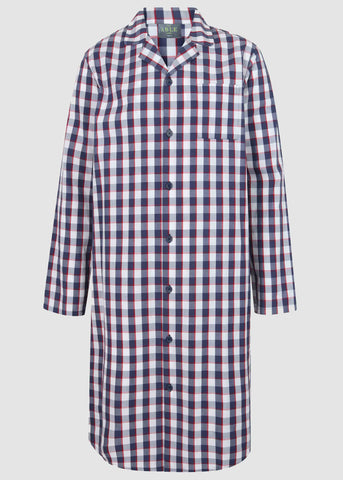 Mark Pure Cotton Long Sleeve Velcro Nightshirt - Navy Check: VAT Exempt