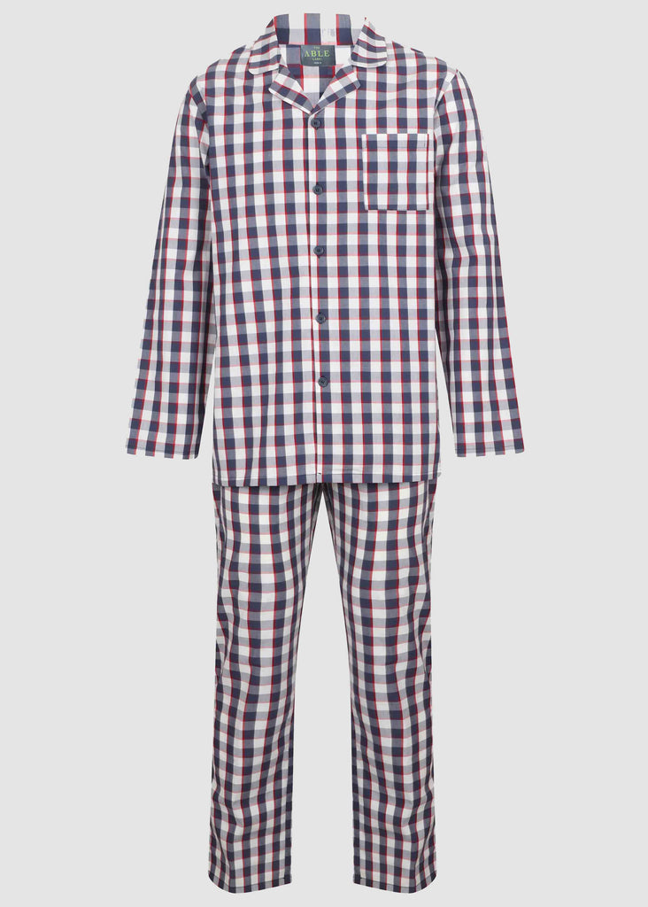 Matthew Pure Cotton Velcro Shirt & Pull On Bottoms PJ Set - Navy Check: VAT Exempt