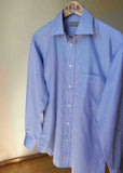 Max Pure Cotton Pinstripe Velcro Shirt - Blue/White: VAT Exempt