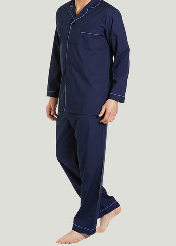 Maxwell Easy-Care Velcro Shirt & Pull On Bottoms PJ Set - Navy