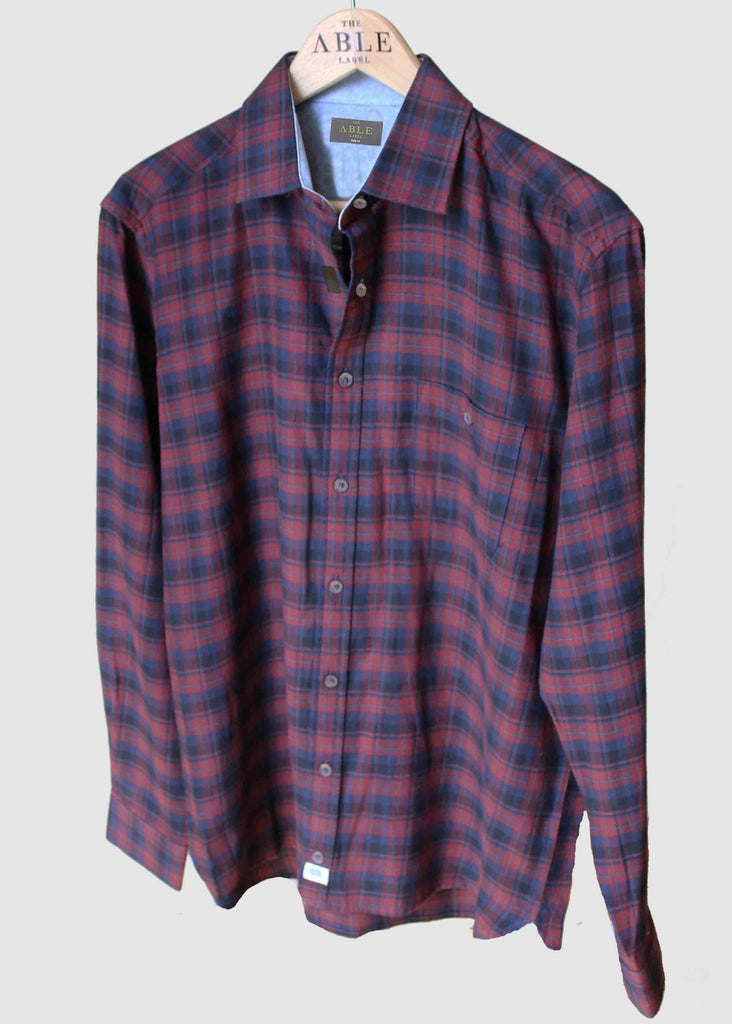 Michael Brushed Cotton Check Velcro Shirt - Red: VAT Exempt