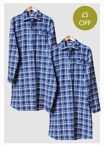 2 Pack Men's Nightshirt Bundle - Blue Check