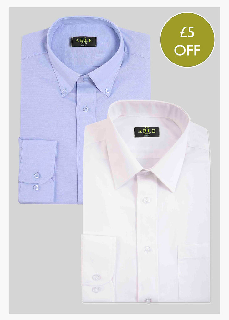 2 Pack Men's Long Sleeve Non-Iron Velcro Shirts - Multi: VAT Exempt
