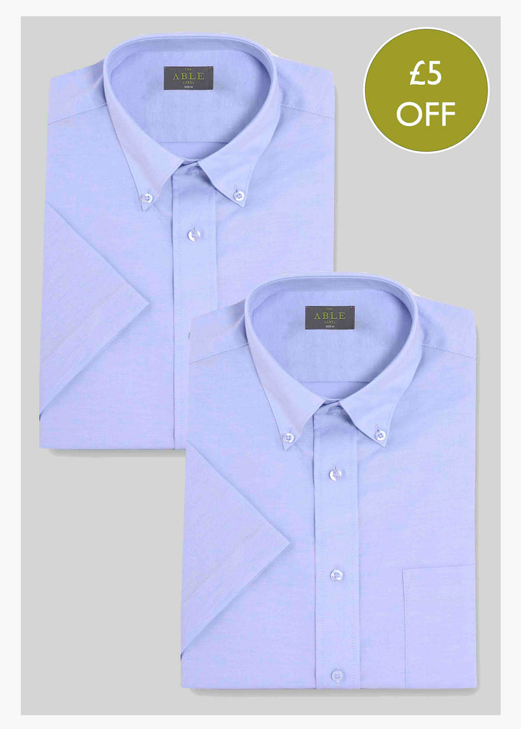 2 Pack Men's Short Sleeve Non-Iron Velcro Shirts - Blue: VAT Exempt