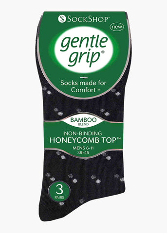 Mens Gentle Grip Socks 3 Pair Pack - Black Patterned
