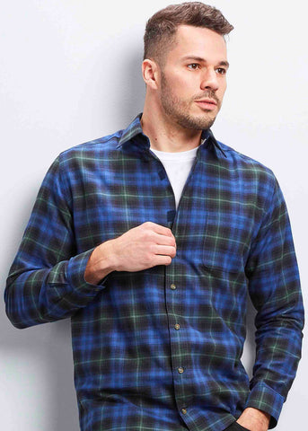 Michael Brushed Cotton Check Velcro Shirt - Blue/Green