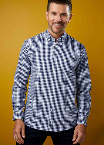Miles Casual Abstract Check Velcro Shirt - Midnight Navy