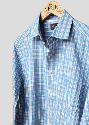 Miles Casual Check Velcro Shirt - Sky Blue
