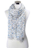 Mini Flower Print Pure Cotton Scarf - White