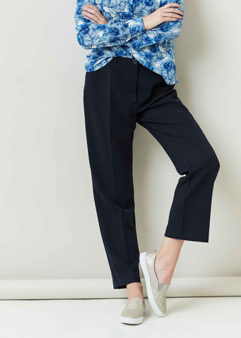 Monica Straight Leg Velcro Fly Trouser - Navy