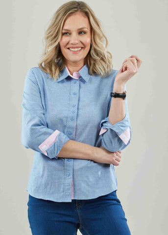 Olivia Pure Cotton Oxford Long Sleeve Velcro Shirt - Blue: VAT Exempt