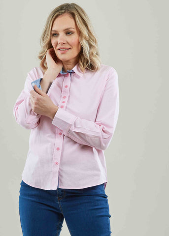 Olivia Pure Cotton Oxford Long Sleeve Velcro Shirt - Pink: VAT Exempt