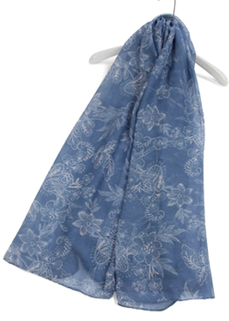 Paisley Orchid Print Scarf - Denim