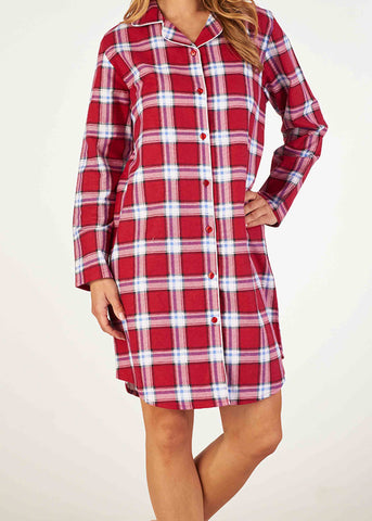 Paula Brushed Pure Cotton Long Sleeve Velcro Front Open Nightdress - Dragon Red Check: VAT Exempt