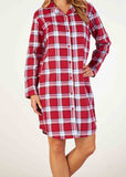 Paula Brushed Pure Cotton Long Sleeve Velcro Front Open Nightdress - Dragon Red Check