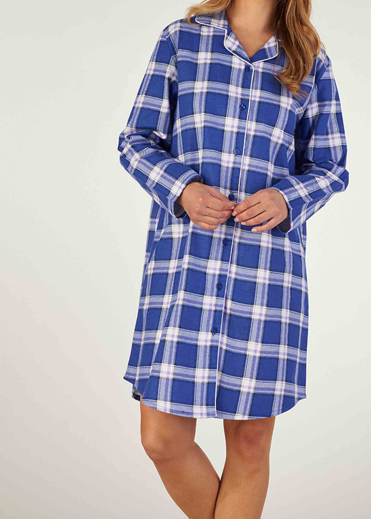 Paula Brushed Pure Cotton Long Sleeve Nightdress - Periwinkle Check - VAT Exempt