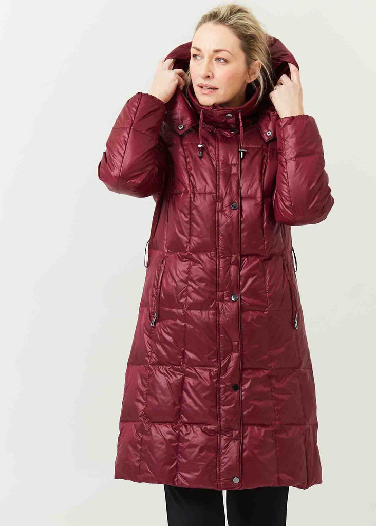 Pearl Puffa Velcro Coat - Dragon Red