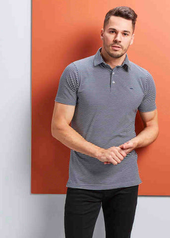 Pete Short Sleeve Pure Cotton Velcro Polo - Navy Stripe