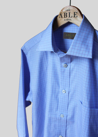 Martin Pure Cotton Check Non-Iron Velcro Shirt - Blue