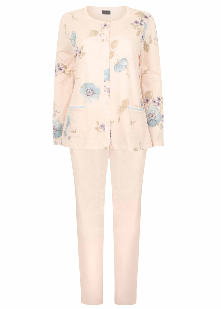 Pippa Floral Pure Cotton Long Sleeve Velcro PJ Set - Peach Floral: VAT Exempt
