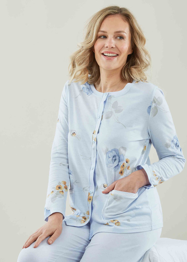 Pippa Floral Pure Cotton Long Sleeve Velcro PJ Set - Seaspray Floral: VAT Exempt