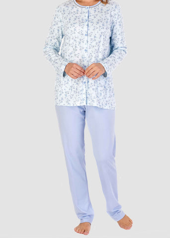 Pippa Floral Pure Cotton Long Sleeve Velcro PJ Set - Periwinkle Floral