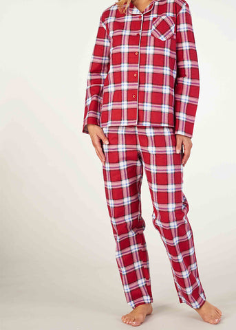 Polly Brushed Cotton Long Sleeve PJ Set - Dragon Red Check