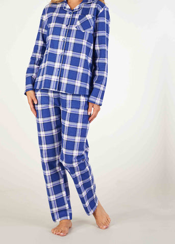 Polly Brushed Cotton Long Sleeve PJ Set - Periwinkle Check: VAT Exempt