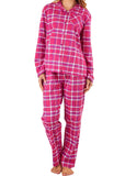 Polly Brushed Cotton Long Sleeve PJ Set - Raspberry Check