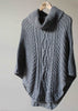 Blanche Cable Knit Poncho - Grey