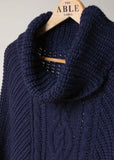 Blanche Cable Knit Poncho - Navy