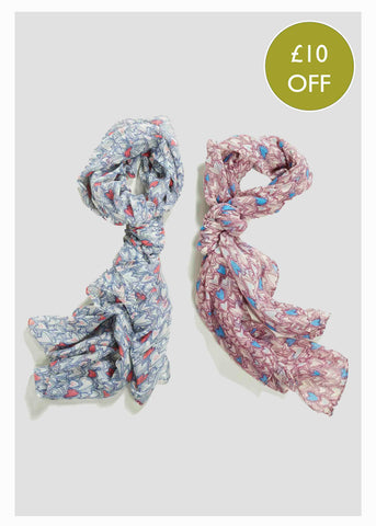 2 Pack Scarf Bundle - Heart Print