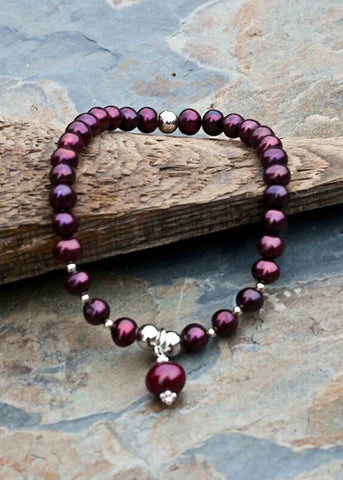 Rosie Pearl Stretch Bracelet - Dragon Red