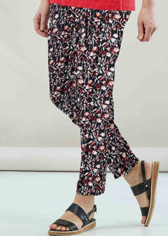 Samantha Straight Leg Jersey Pull On Trousers - Floral