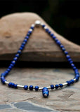 Sandra Pearl Drop Magnetic Necklace - Shibori Navy