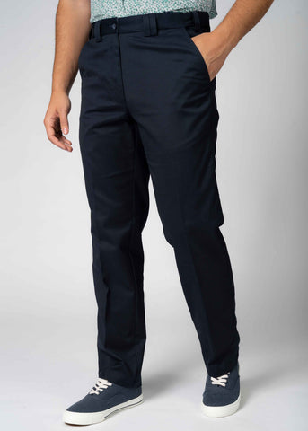 Seb Straight Fit Velcro Fly Pure Cotton Chino - Navy (Short Length)