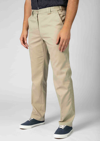Seb Straight Fit Velcro Fly Pure Cotton Chino - Stone (Regular Length)
