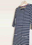 Sophie Pure Cotton Jersey 3/4 Sleeve Velcro Dress - Navy Stripe: VAT Exempt