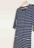 Sophie Pure Cotton Jersey 3/4 Sleeve Velcro Dress - Navy Stripe