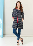 Sophie Pure Cotton Jersey 3/4 Sleeve Velcro Long Cardigan- Navy Stripe