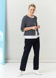 Sophie Pure Cotton Jersey 3/4 Sleeve Velcro Short Cardigan- Navy Stripe