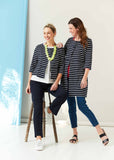 Sophie Pure Cotton Jersey 3/4 Sleeve Velcro Long Cardigan- Navy Stripe: VAT Exempt